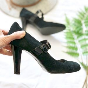 Suede Mary Jane Heels